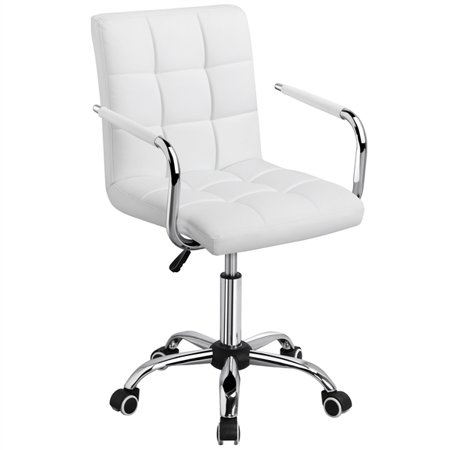 Modern Leather Swivel Executive Office Chair White Walmart Com In 2020 Stylish Office Chairs White Desk Chair No Wheels White Office Chair