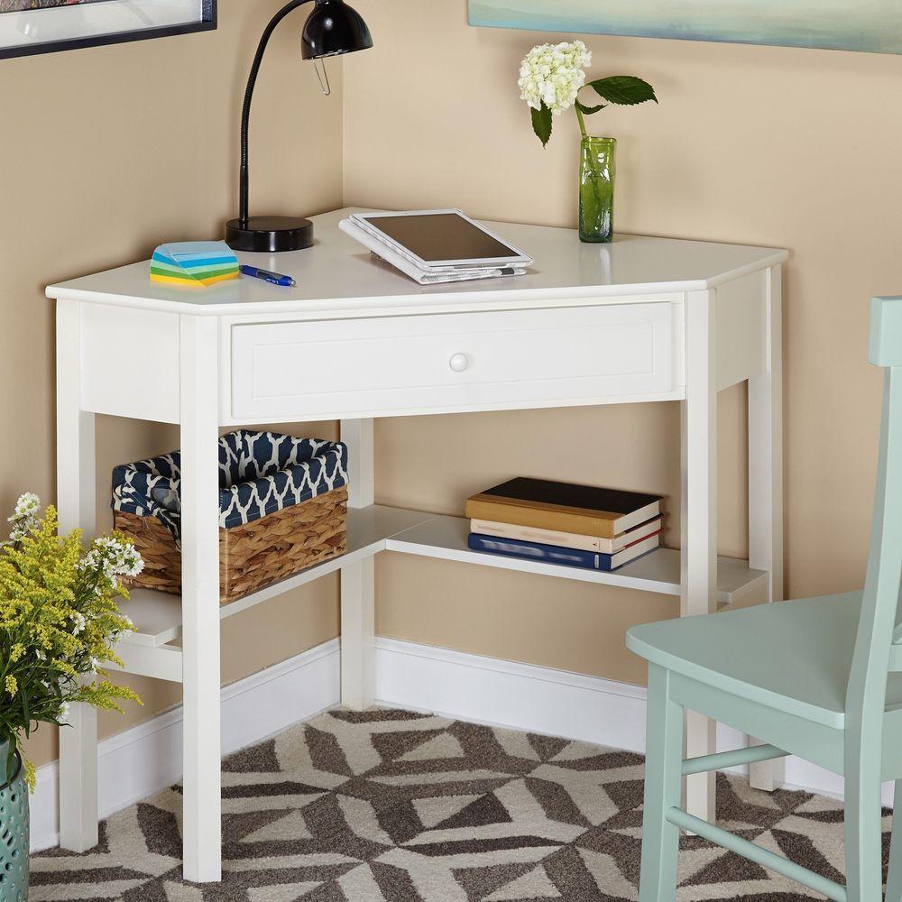 Corner Computer Desk Wood White Home Office Furniture Dorm ...