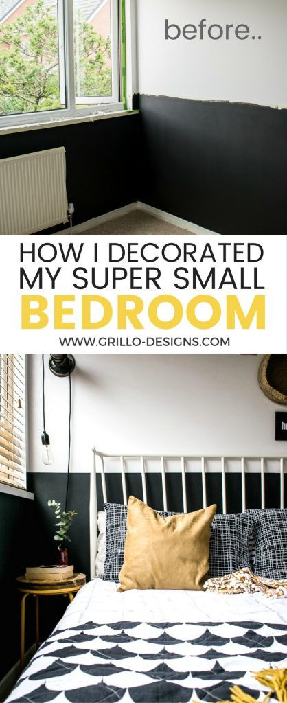 Modern Vintage Eclectic Style Small Bedroom Makeover With Half Painted Dark  Walls. Space Saving Ideas For Small Spaces/ Grillo Designs  Www.grillo Designs. ...