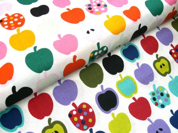 05 m Printed cotton fabric Apples 115 cm br. by
