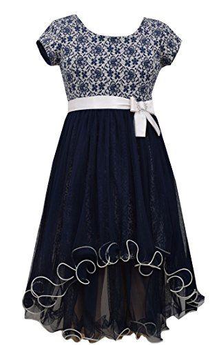 dacc12bdf Girls Plus Navy-Blue Lace Jacquard High Low Mesh Fit Flare Dress, Bonnie  Jean