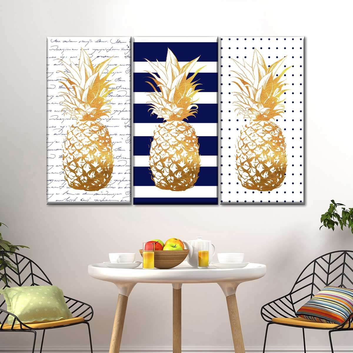 Navy Pineapple Passion Canvas Set Wall Art In 2020 Vibrant Wall Art Pineapple Wall Art Modern Wall Decor Art