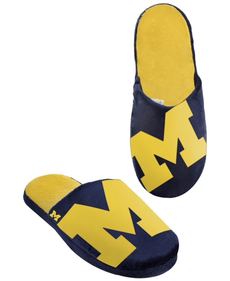 Forever Collectibles Men's Michigan Wolverines Big Logo Slippers