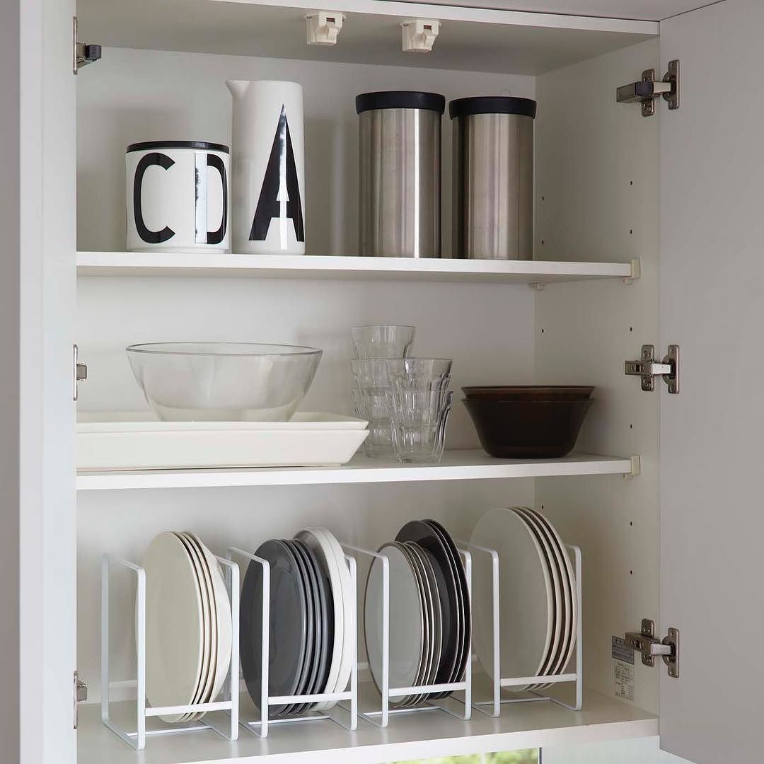An Easy Way To Organize Plates That Maximize Space Comes In White And Black In 2 Sizes Tower Dish Storag Small Room Design Plate Shelves Kitchen Organisation