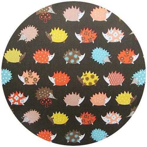 Kokka Japan, Patterned Hedgehogs Brown