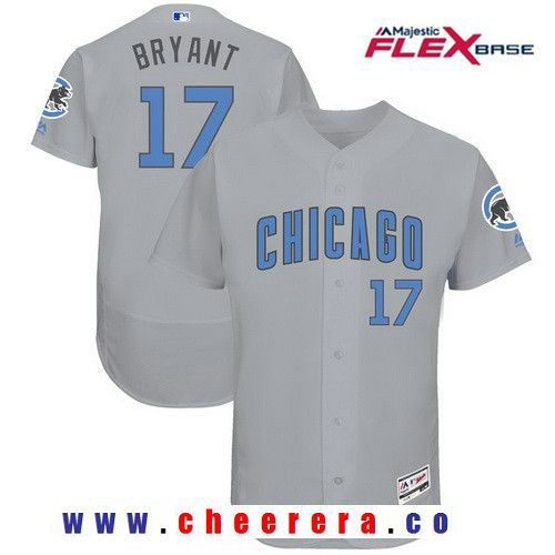 06a6ab336 Men s Chicago Cubs  17 Kris Bryant Gray with Baby Blue Father s Day  Stitched MLB Majestic Flex Base Jersey