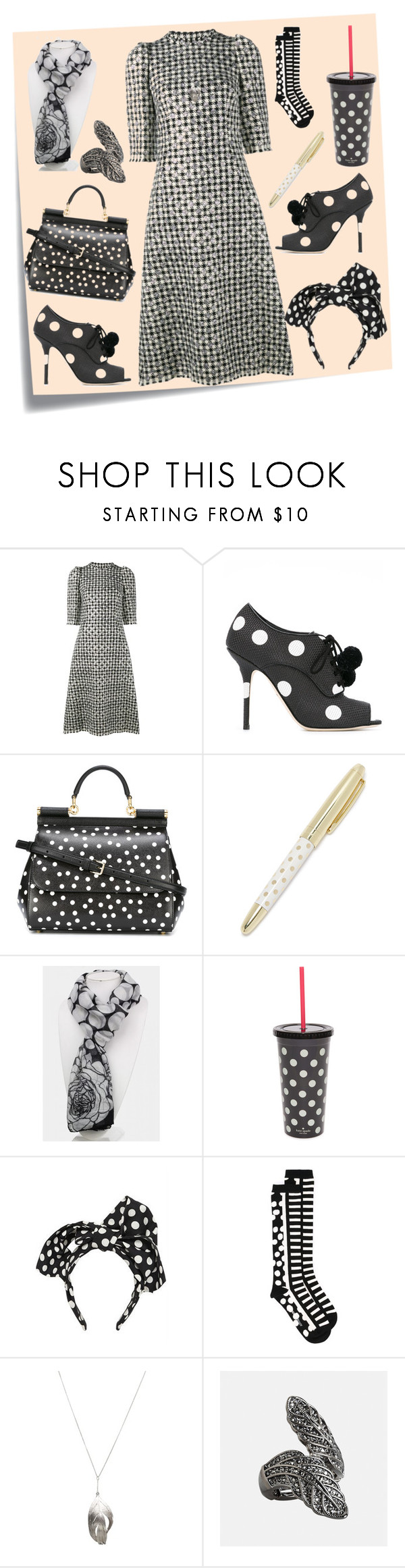 """Polka Dot Dress..**"" by yagna ❤ liked on Polyvore featuring Post-It, Dolce&Gabbana, Kate Spade, Henrik Vibskov, Aurélie Bidermann, Avenue and vintage"