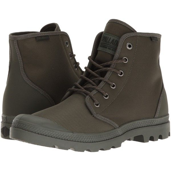 6d95495ee4 Palladium Pampa Hi Originale TX (Army Green/Castlerock) Lace-up Boots ($45)  ❤ liked on Polyvore featuring shoes, boots, green, urban boots, fake boots,  ...
