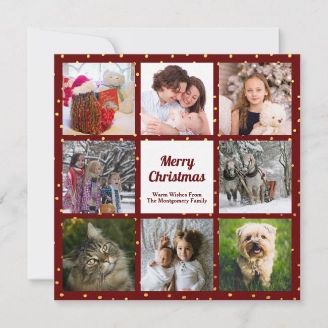 with Gold Foil Dot Eight Holiday Photo Collage DotRed with Gold Foil Dot Eight Holiday Photo Collage Dot