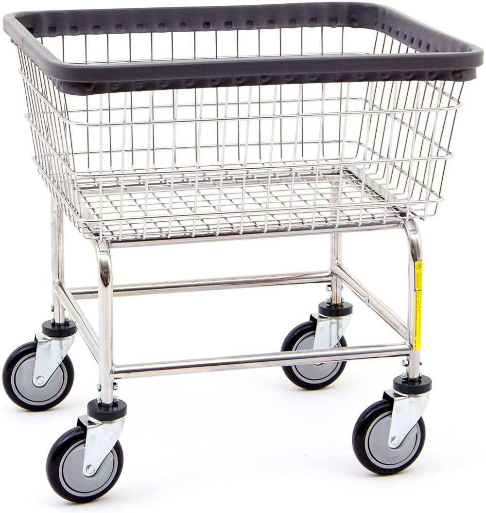 Rb Wire 100e Rolling Standard Laundry Cart Chrome Basket On Wheel