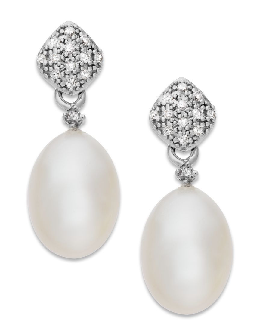Freshwater Pearl and 1//10 ct Diamond Drop Earrings in 14K White Gold