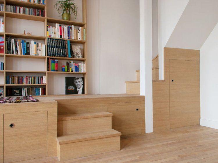 Rangements dans escalier avec estrade qui créer une alcove ...