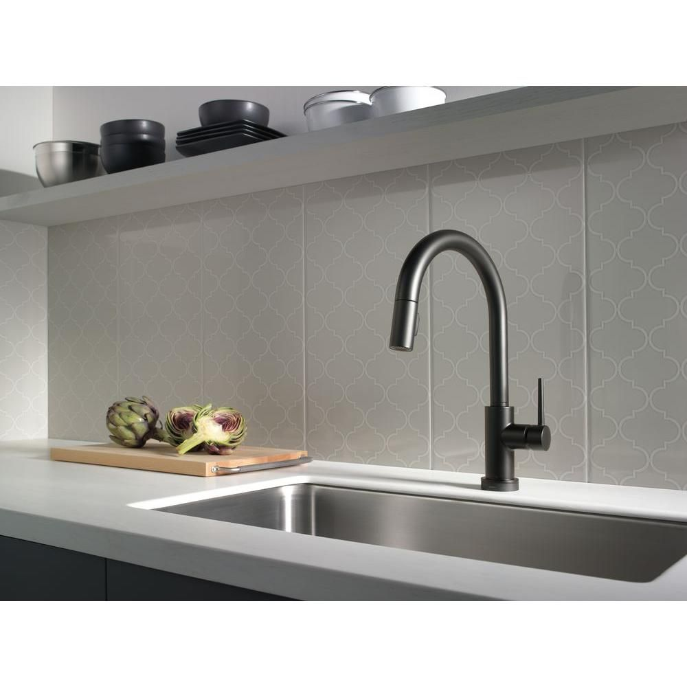 Delta Trinsic Single-Handle Pull-Down Sprayer Kitchen Faucet with ...