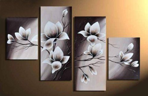 Elegant blooming flowers floral oil painting wall art modern canvas art wall decor with stretched frame ready to hang