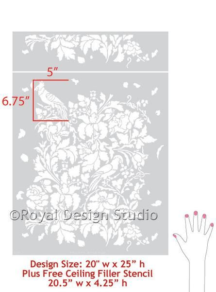 French Floral Damask Wall Stencil | Decorating Ideas