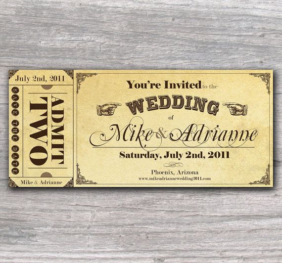 Vintage Ticket Save The Date Or Wedding Invitation Set Free Shipping