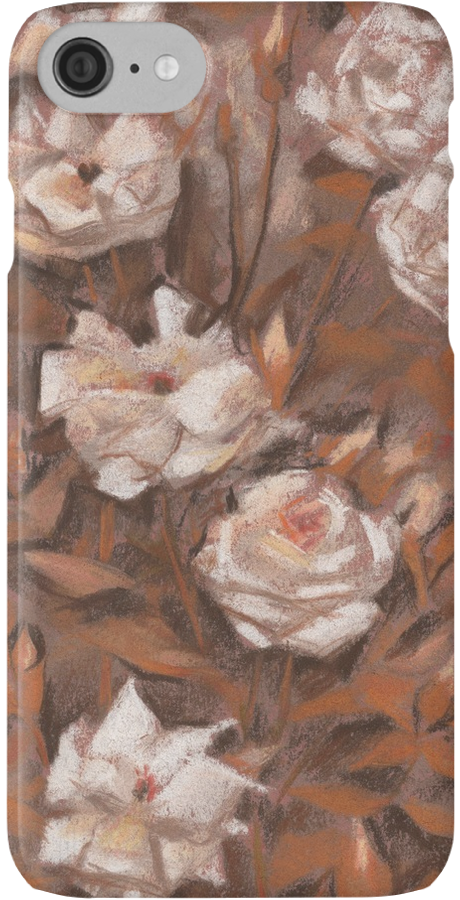 """White roses, floral pattern, earth shades"" iPhone Cases & Skins by clipsocallipso 