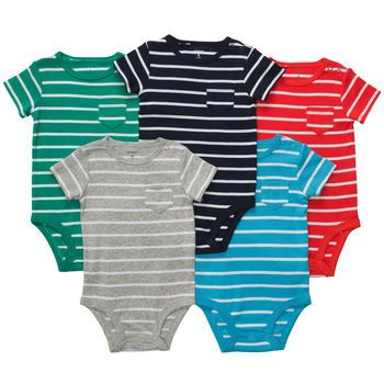 7c84c7fe826d Carter s - Short-Sleeve Striped Bodysuits. A Charles wardrobe must ...