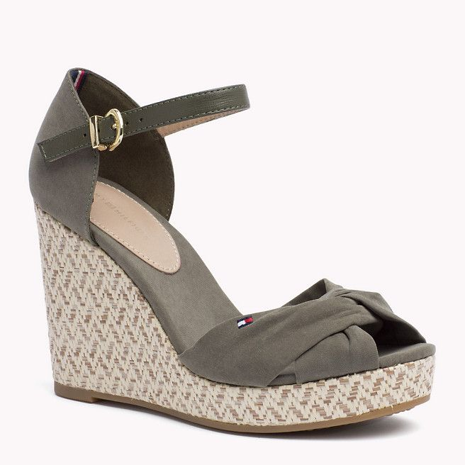ee6e83445 Tommy Hilfiger Spring 16 Wedge Sandal with crisscross sandal strap and  unique woven pattern on the wedge