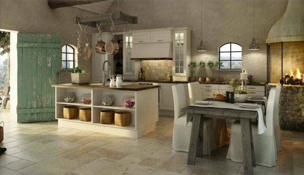 Kitchen w/ fireplace houses and beautiful rooms Pinterest