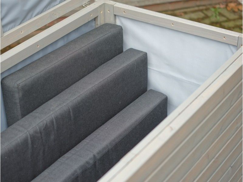 Innovativ Auflagenbox / Kissenbox Holz L, Transparent Geölt Grau  FO29