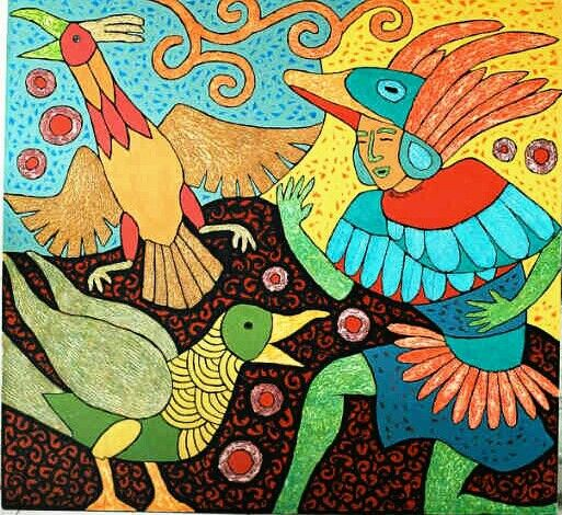 """BIRD DANCER""  by Freddy Sitorus;   145×135 cm, $600"