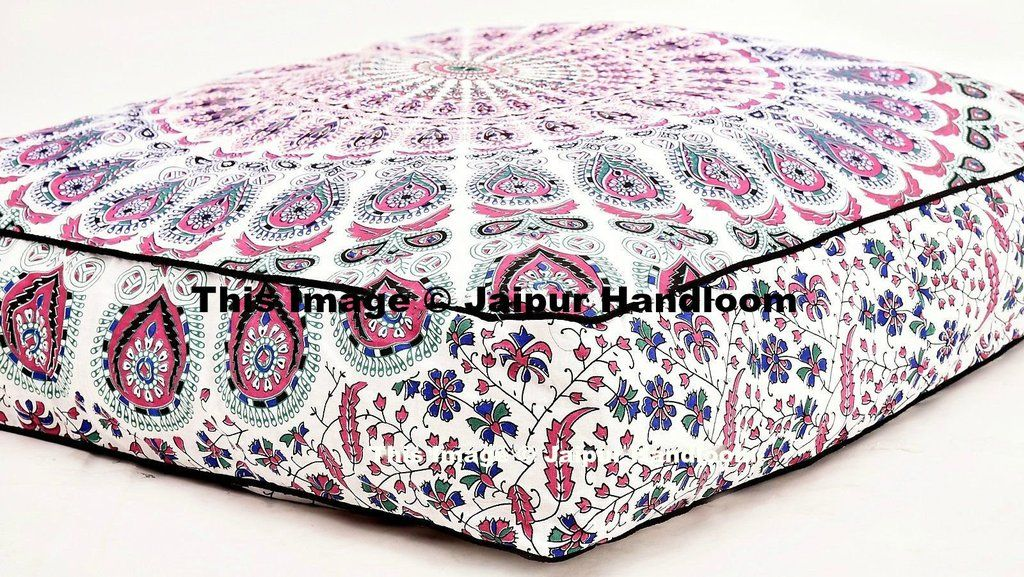 Peacock Mandala Floor Pillow Indian Ottoman Square Pouf Cover