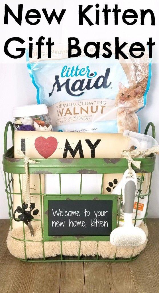 New Kitten Gift Basket   Gift baskets, Kittens, Dog gifts