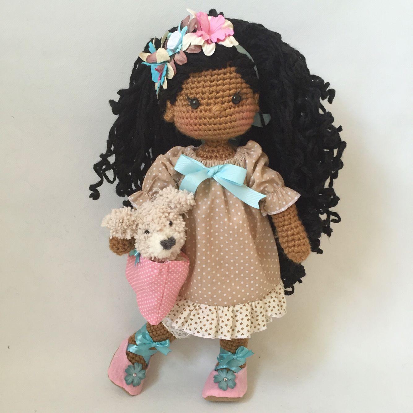 Tiny Amigurumi Doll : Crochet doll amigurumi bunny with tiny teddy bear