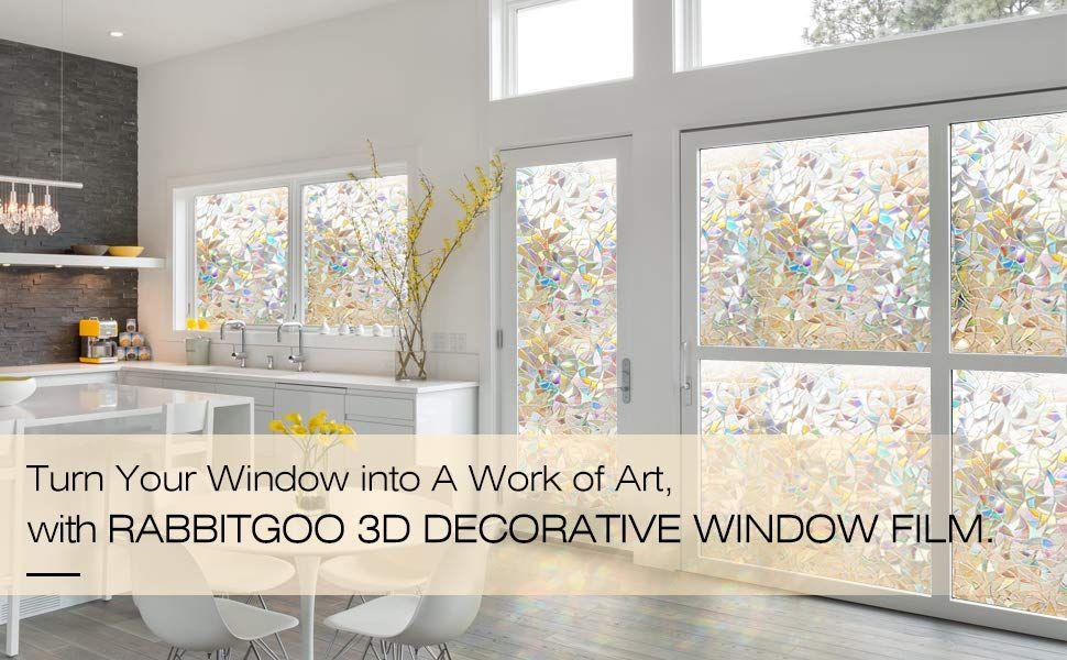 Amazon Com Rabbitgoo 3d No Glue Static Decorative Films Glass