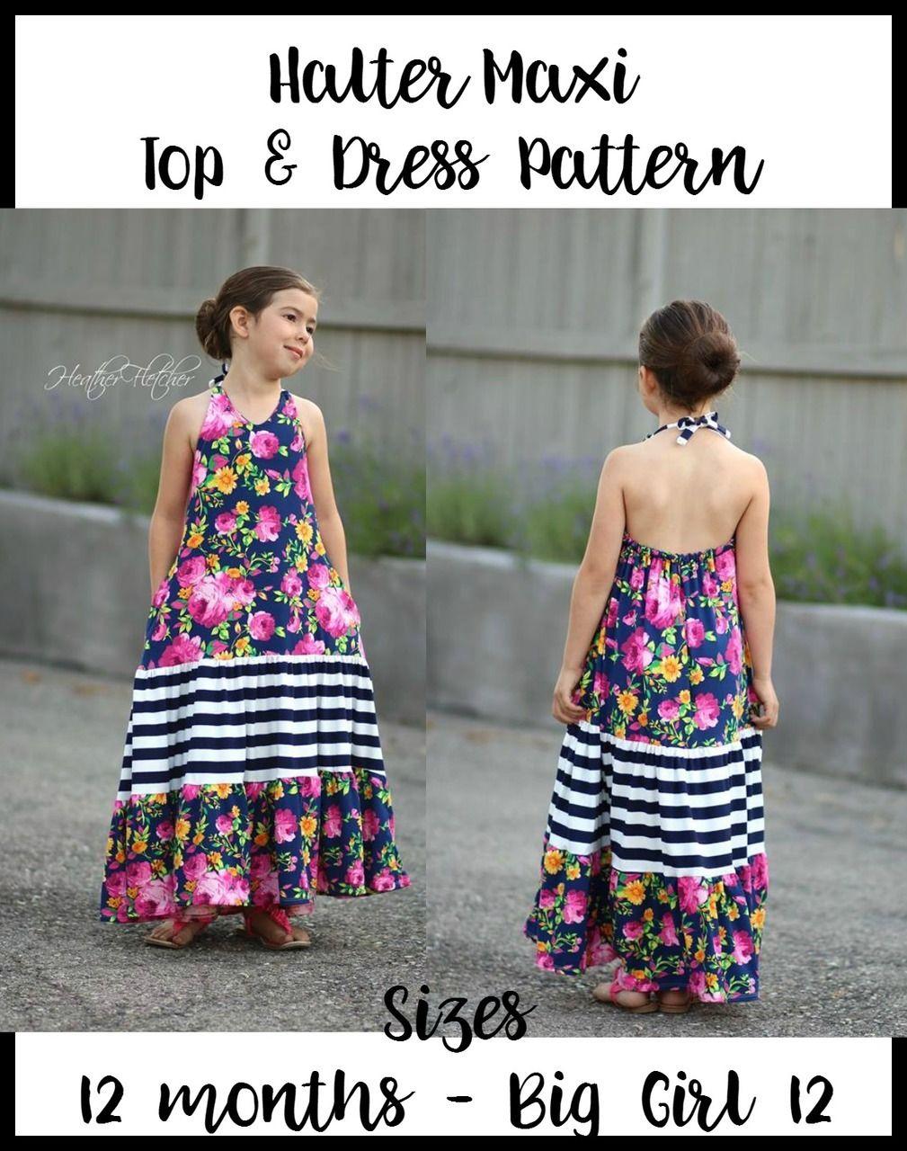 Girlus halter maxi top u dress pattern sewing kidus pinterest