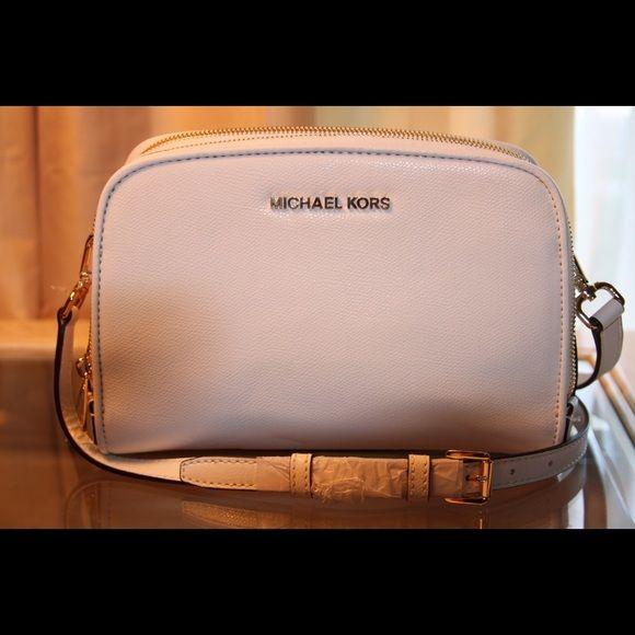 michael kors reese messenger crossbody nwt white leather slot and rh pinterest com