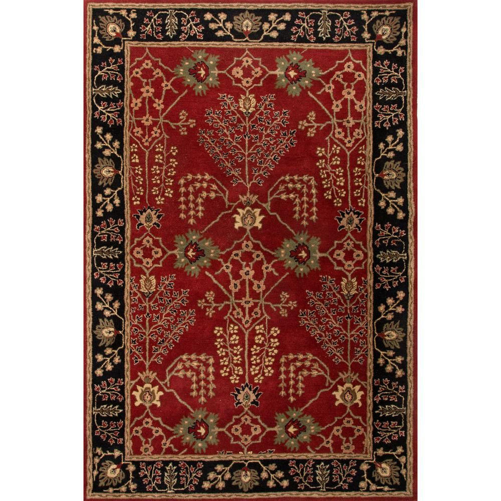 Hand Tufted Red Ochre 3 Ft 6 In X 5 Ft 6 In Oriental Area Rug Red Ochre Jet Black Floral Area Rugs Wool Area Rugs Black Area Rugs