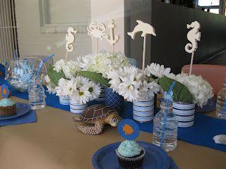 Whimsical Ways Ocean Centerpieces Party Centerpieces Ocean Party