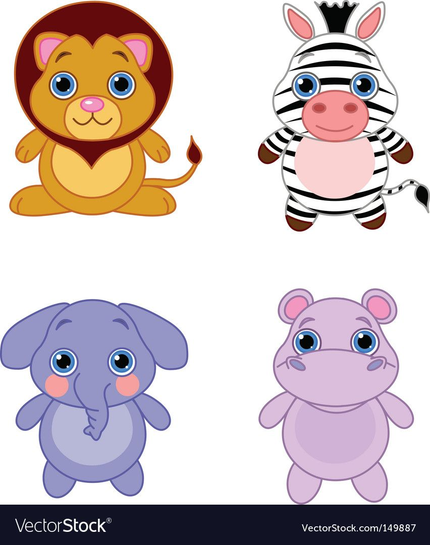 Cute Funny Baby Animals Set African Animals Download A Free Preview Or High Quality Adobe Illustrator Ai E Cute Animal Clipart Baby Animals Cute Baby Animals