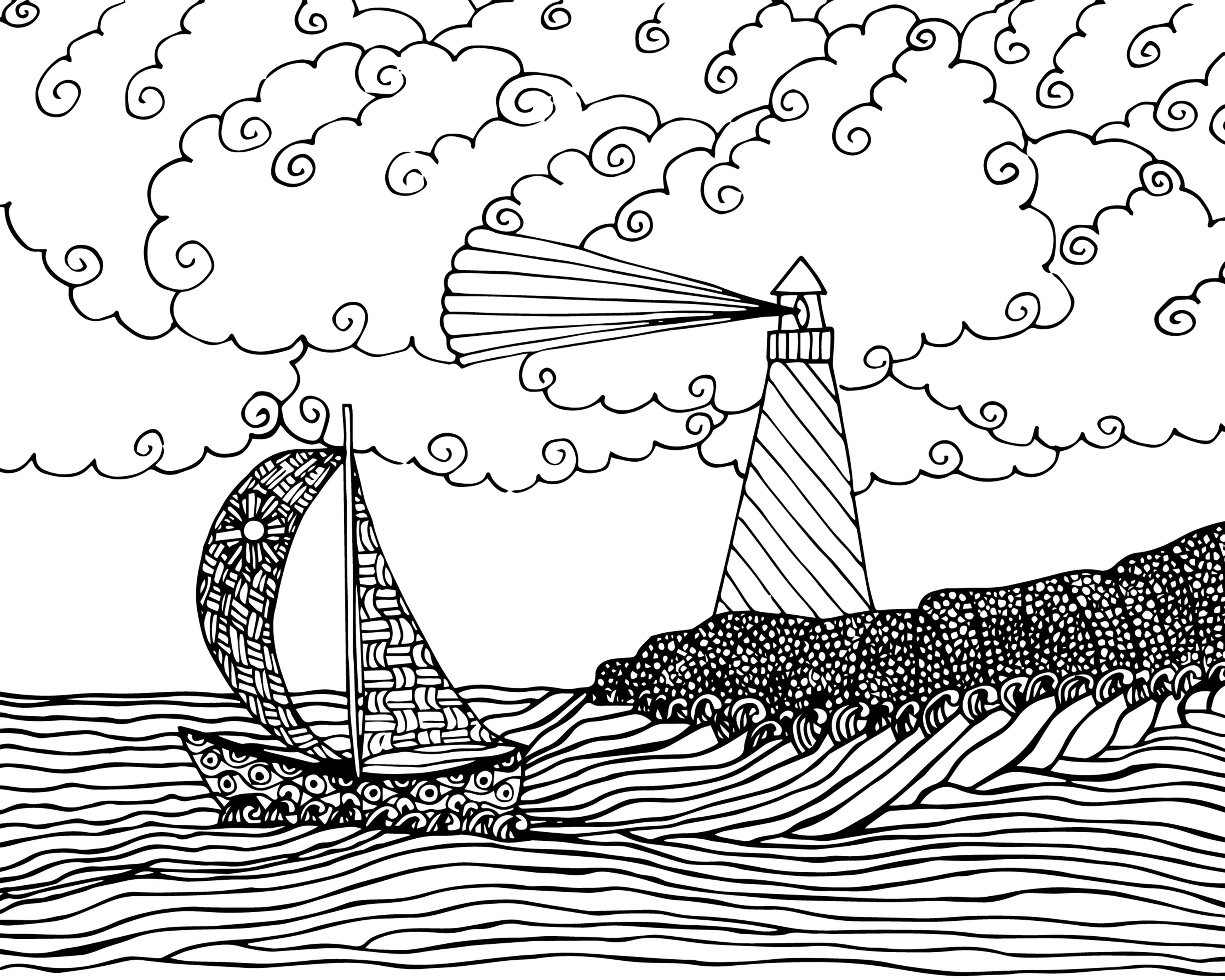 FREE seascape coloring page for adults FREE Printable