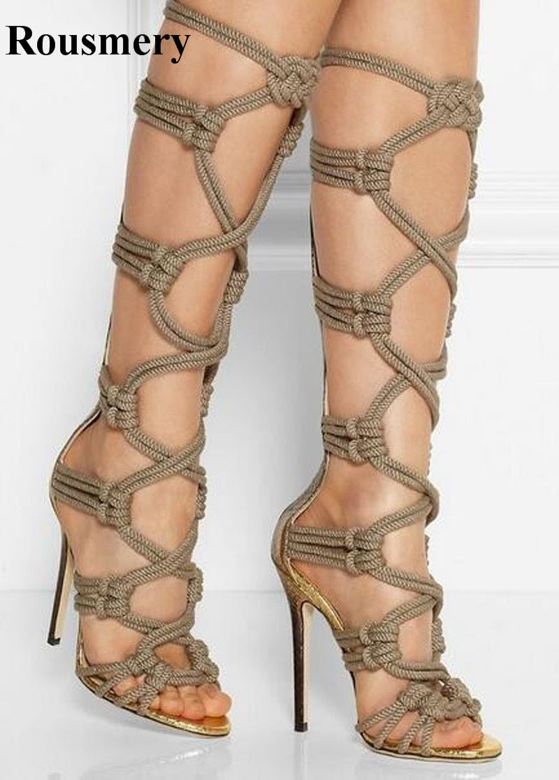 efb83cde309 Western Style Women Fashion Open Toe Rope Design Knee High Gladiator Boots  Stiletto Heel Long Cut-out Sandal Boots