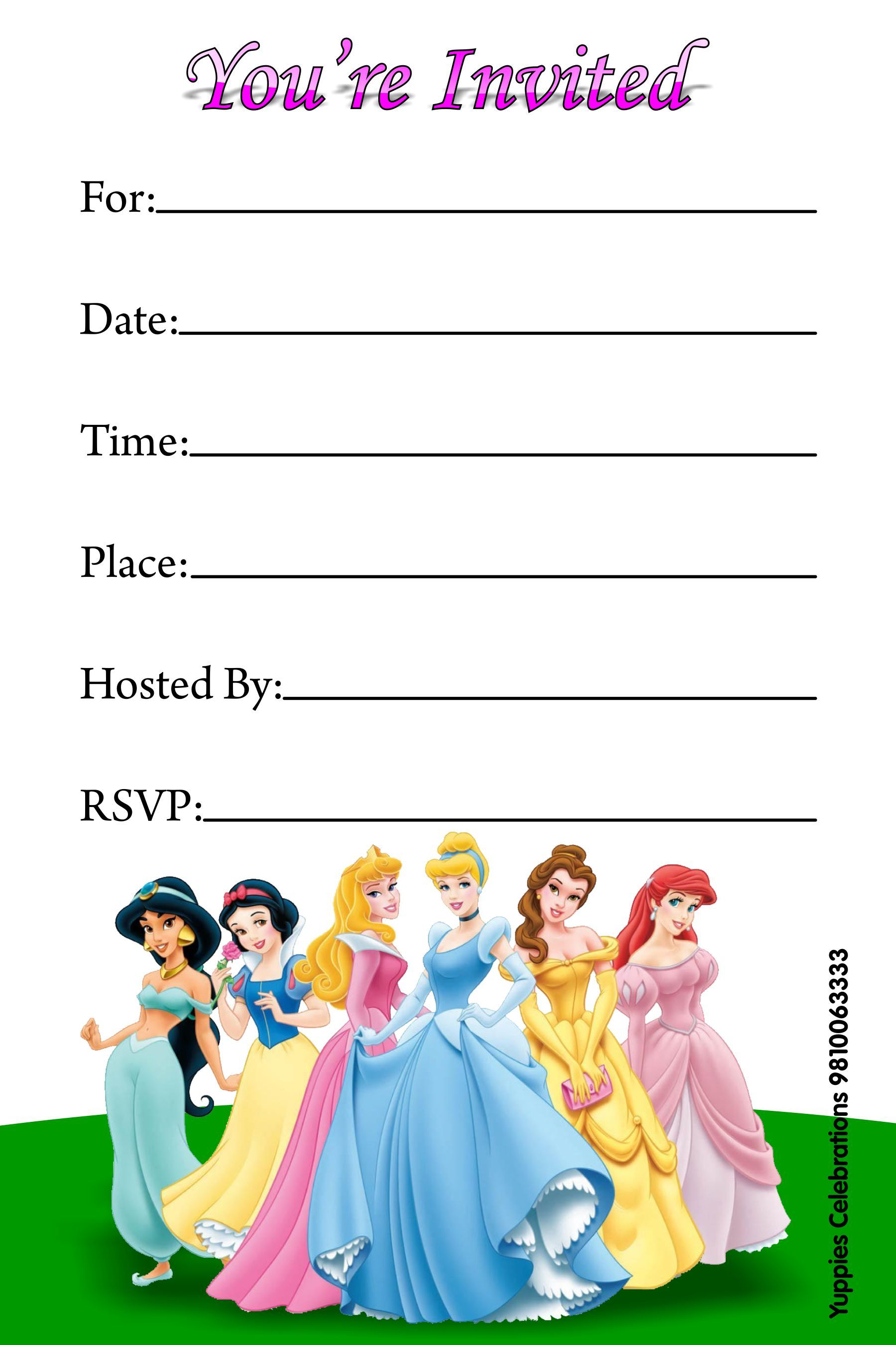 Lively image inside disney princess birthday invitations free printable