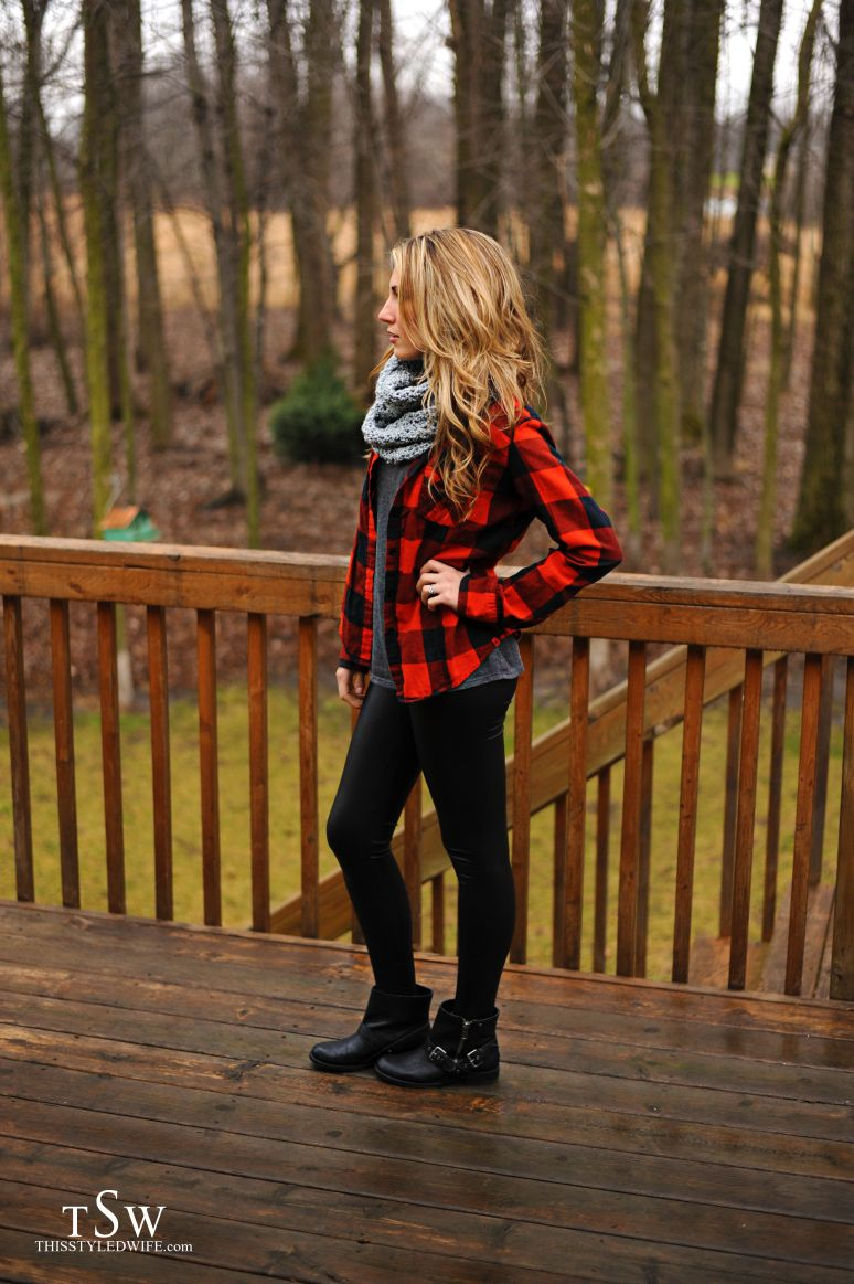 Dark red flannel  Black skinny jeans black ankle boots dark gray shirt scarf and