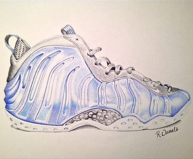 pretty nice f51ec 8f313 In this pin we see a drawing of the Nike Foamposite One  Royal Blue  done  by  rocdaniels (Instagram)  TheSoleLiibrary  SoleArt