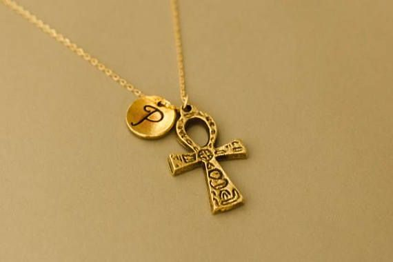 Gold Ankh Necklace 14k gold ankh necklace ankh cross pendant ankh