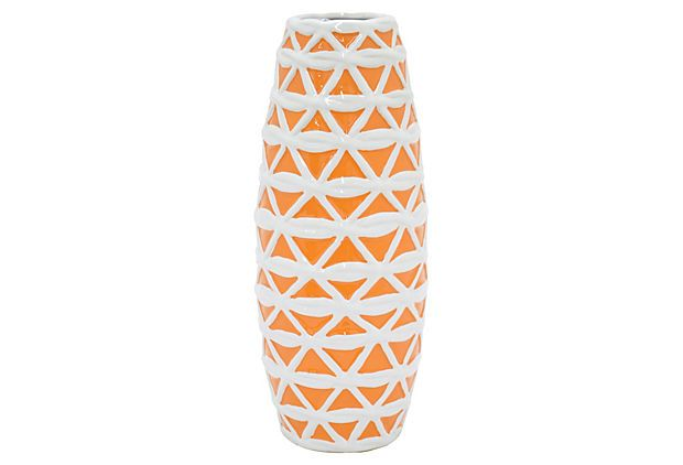 "13"" Ceramic Lattice Vase, Orange/White on OneKingsLane.com"