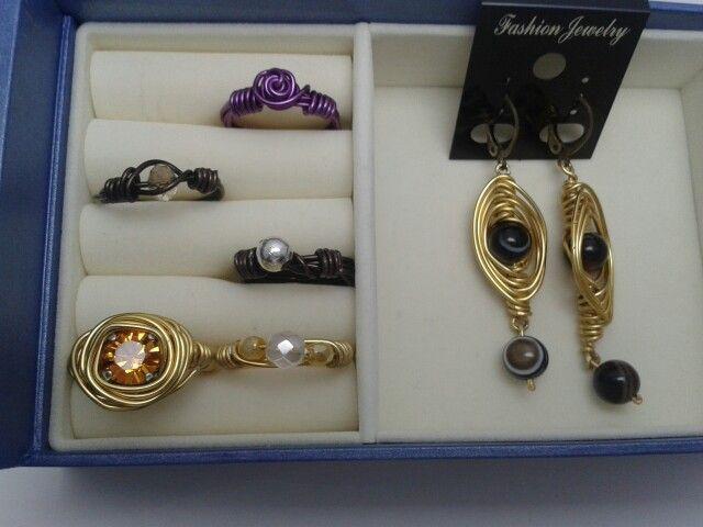 Aluminio oro,  marrón y morado y combinando con perla,  xilium,  facetada, ágata etc