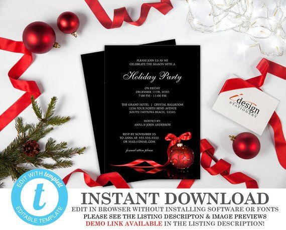 Holiday Party Invitations Instant Download Christmas Invitation