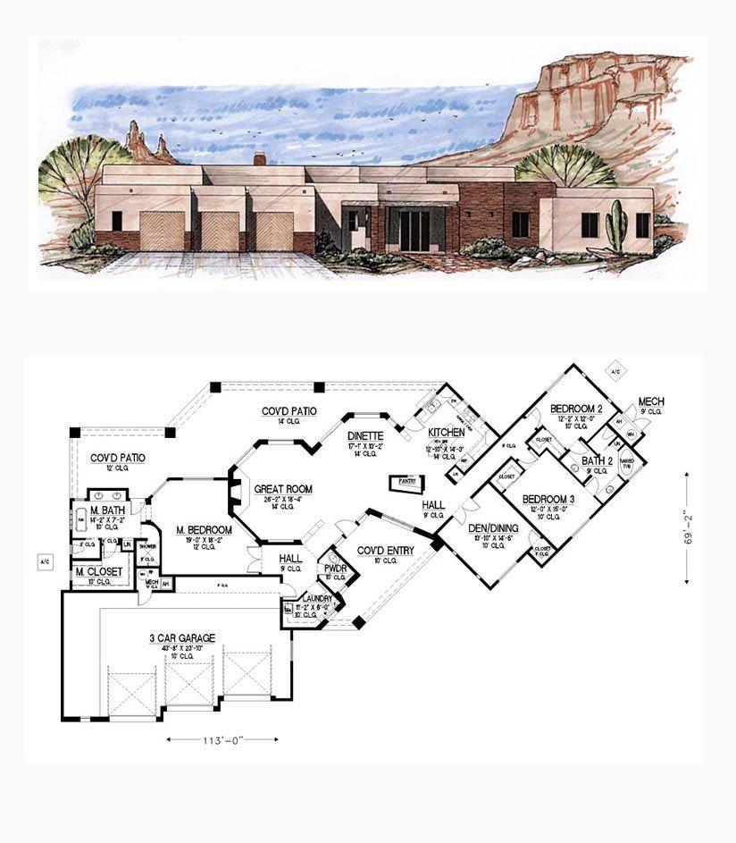 Southwest Style House Plan 54687 With 3 Bed 3 Bath 3 Car Garage Santa Fe Home Home Design Floor Plans Mediterranean House Plans