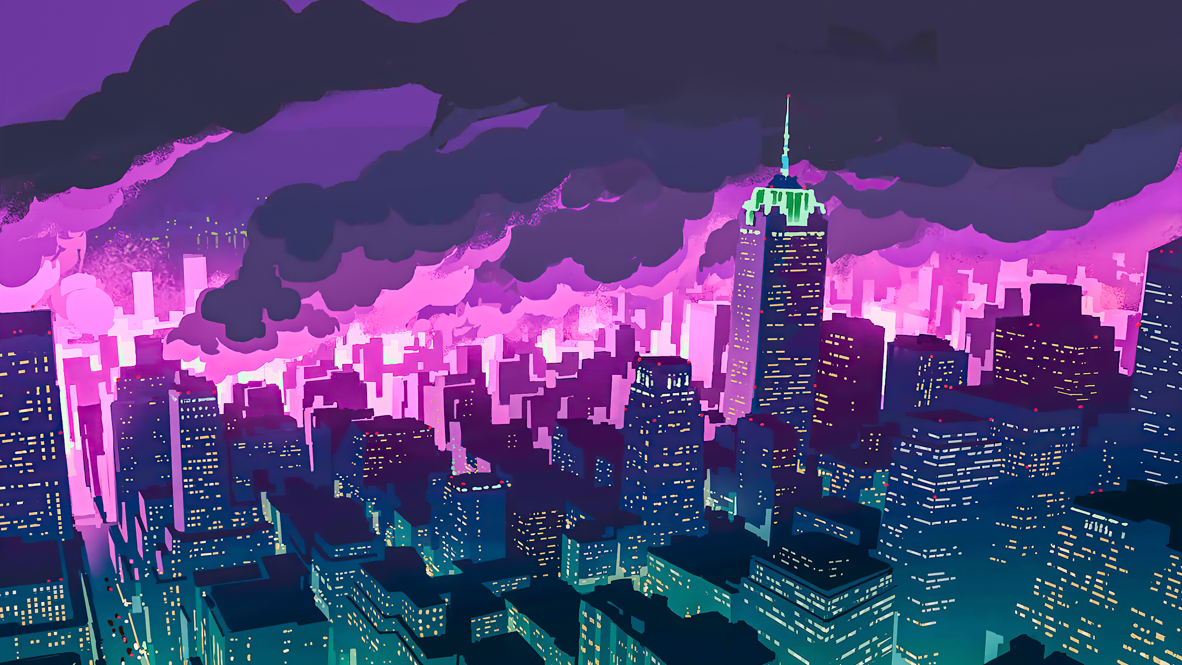 Promare Night City 3840x2160 In 2020 Anime City Anime Wallpaper City Wallpaper