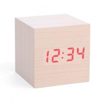Reloj despertador LED madera  Kikkerland