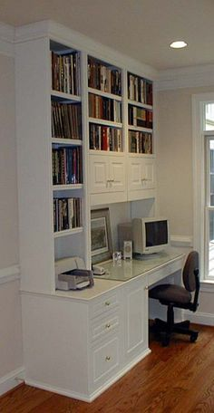 white cabinet computer desk built-in | Home office furniture ...