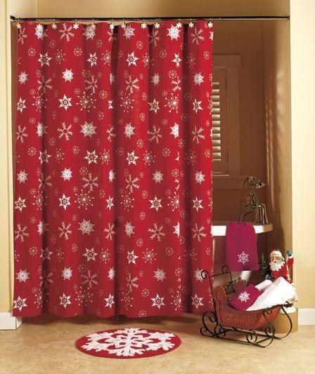 18 Pc Crimson Snowflake Bathroom Shower Curtain Collection Christmas Bath Decor