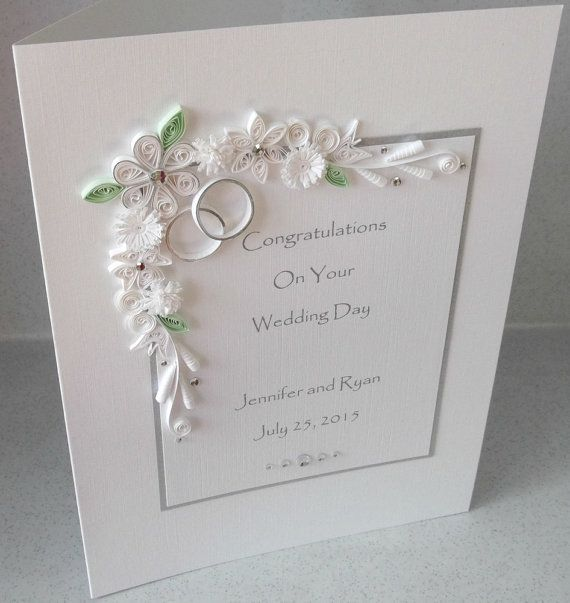 Wedding Day Images With Name: Quilled Wedding Day Congratulations Card, Personalised
